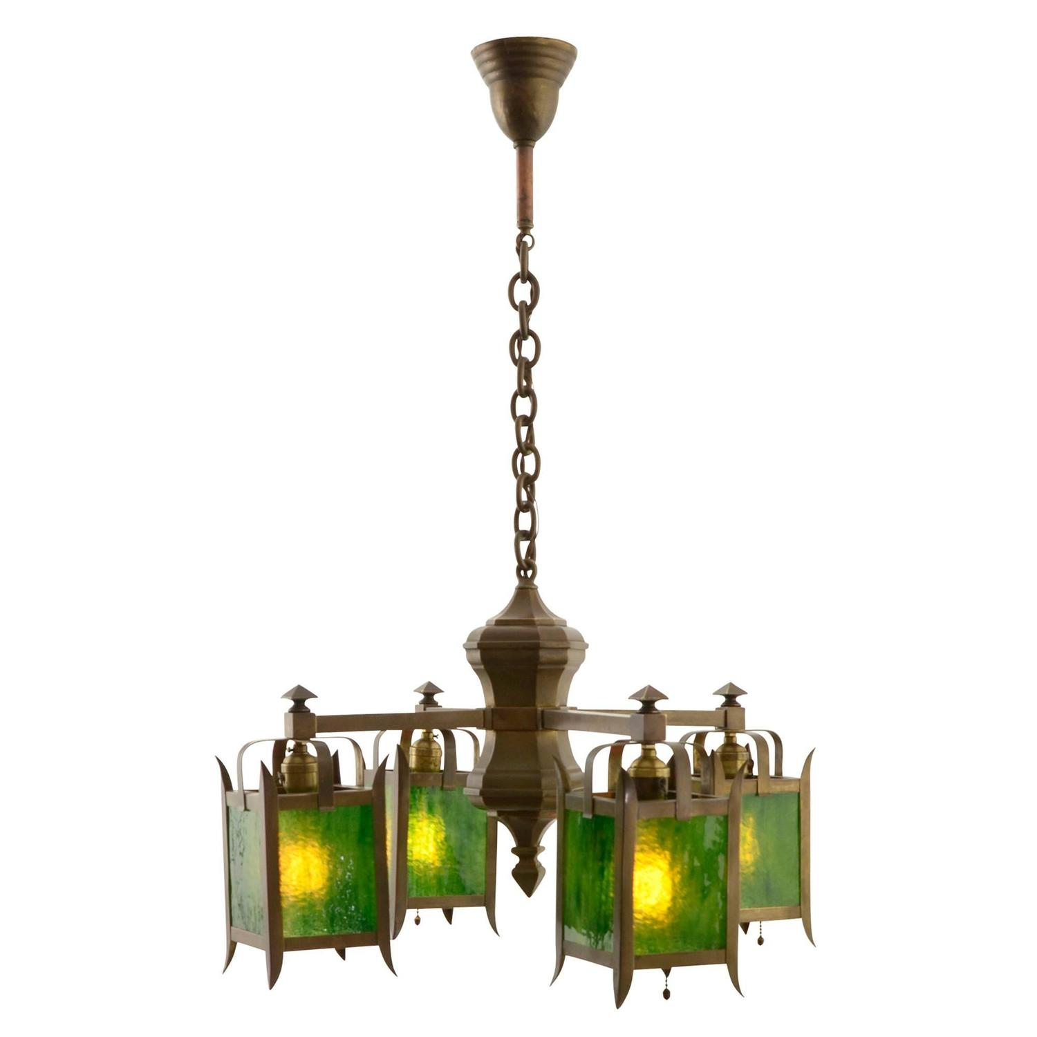 arts and crafts chandelier. Unusual Arts And Crafts Chandelier With Green Art Glass
