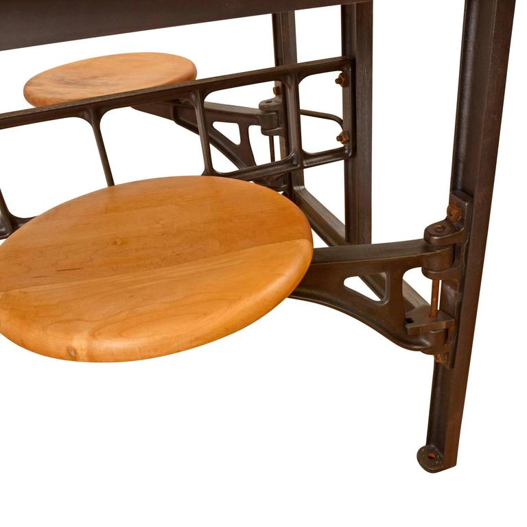 Maple And Iron Four Seat Lab Table Circa 1930 At 1stdibs