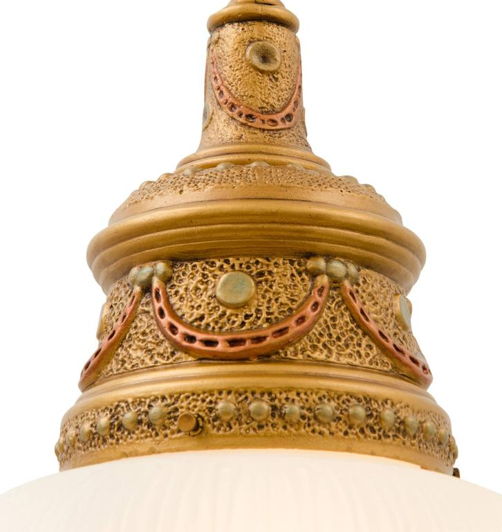 Ornate Classical Revival Plaster Pendant With Acorn Shade