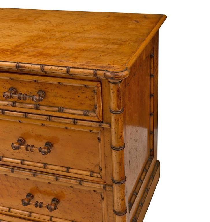 Faux Bamboo Birdseye Maple Dresser By R J Horner Circa
