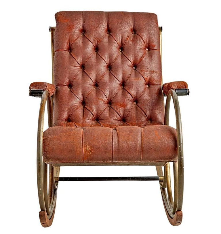 Lee Woodard Rocking Chair with Weathered Upholstery, circa 1970s 2