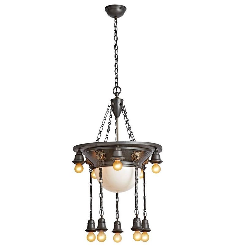 Elaborate Bowl Chandelier with Lion Motif, circa 1920s at ...