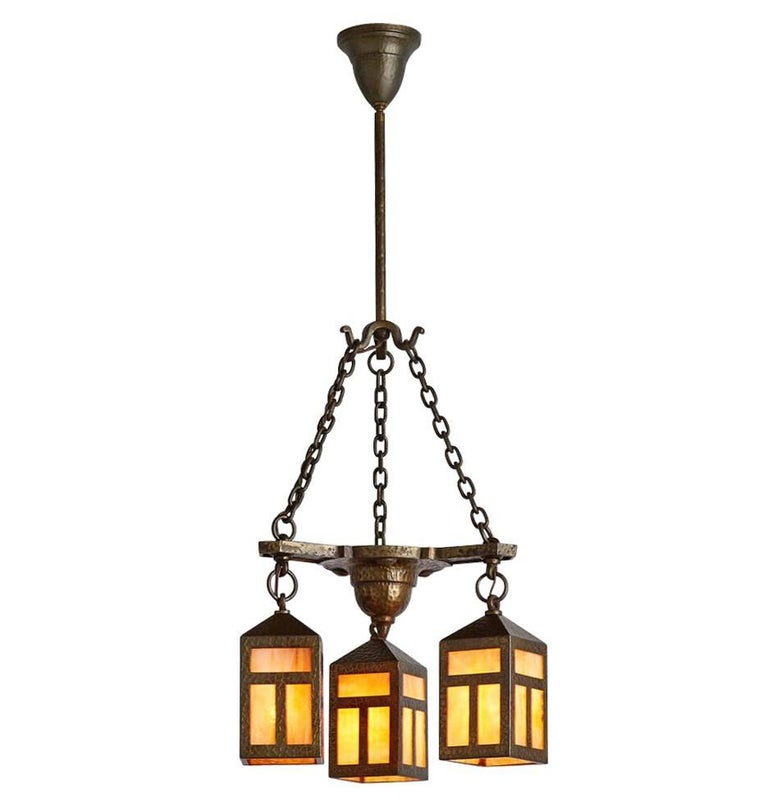 Stunning Brass Arts And Crafts Chandelier With Art Glass
