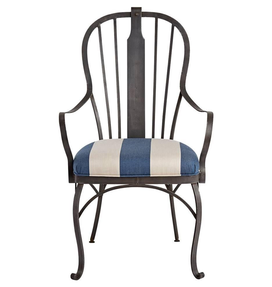 Pair Of Wrought Iron Patio Chairs With Reupholstered Cushions, Circa 1920s 2