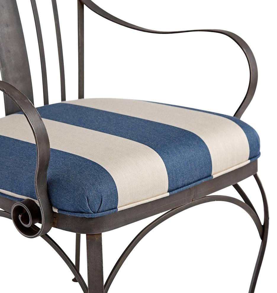Pair Of Wrought Iron Patio Chairs With Reupholstered Cushions, Circa 1920s 3