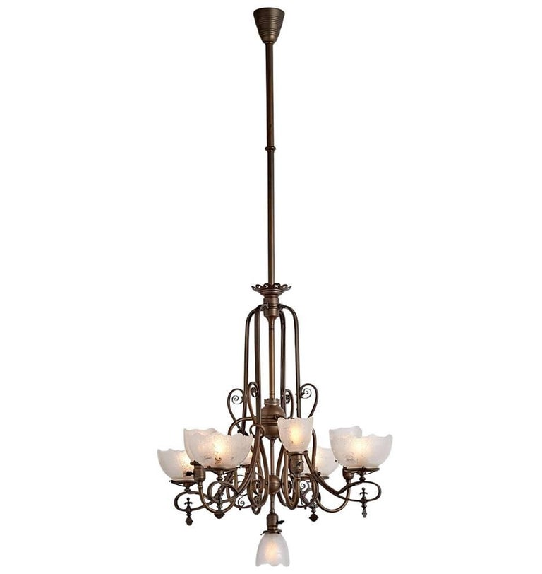 Extraordinary gas electric nine light victorian chandelier circa 1895 for sale at 1stdibs - Circa lighting chandeliers ...