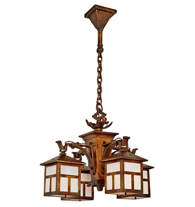 Four lantern arts and crafts chandelier with original for Arts and crafts chandelier