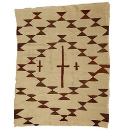 Transitional Navajo Weaving with Brown and White Cross Pattern, circa 1900