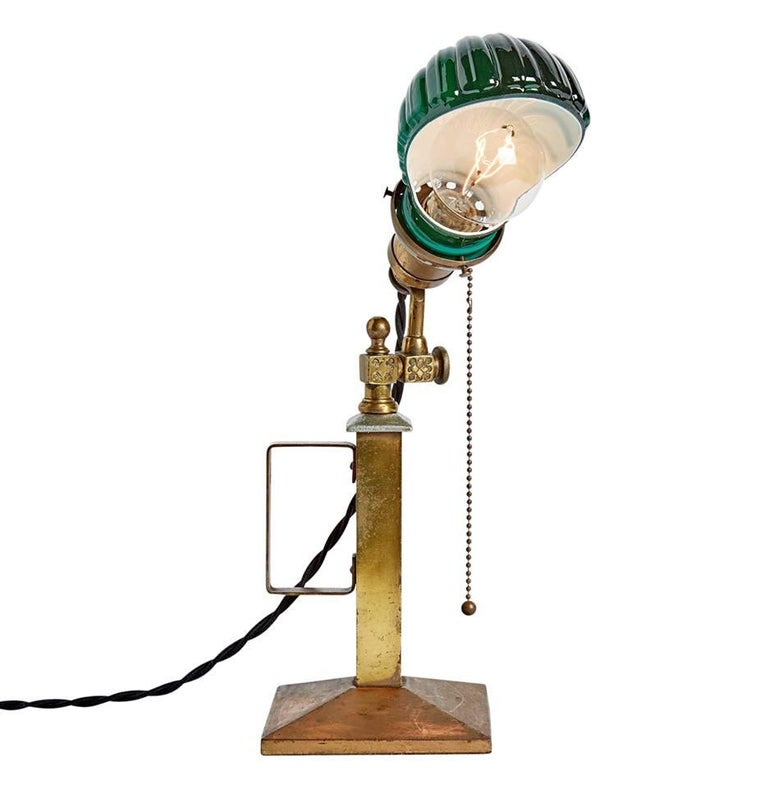 Pair Of Beardslee Lamps With Emeralite Clamshell Shades
