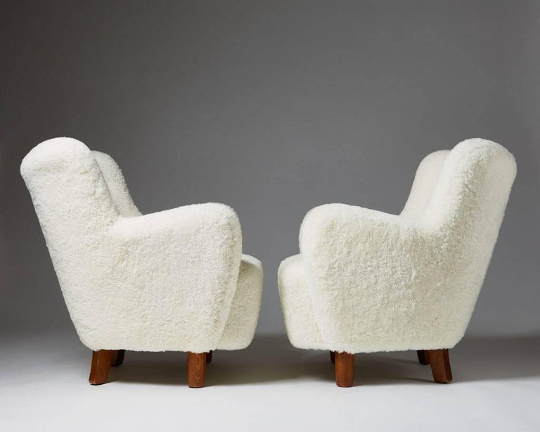 Danish Pair of Armchairs, Anonymous, Denmark, 1940s For Sale