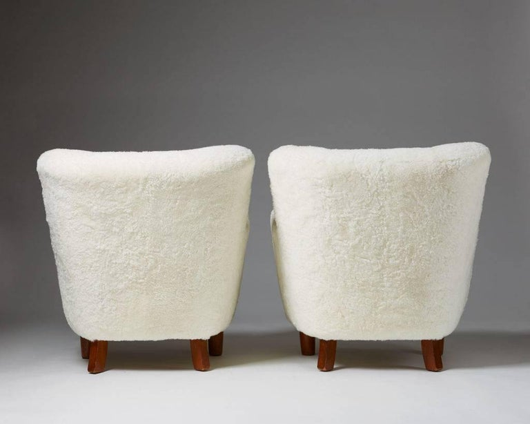 Pair of Armchairs, Anonymous, Denmark, 1940s In Excellent Condition For Sale In Stockholm, SE