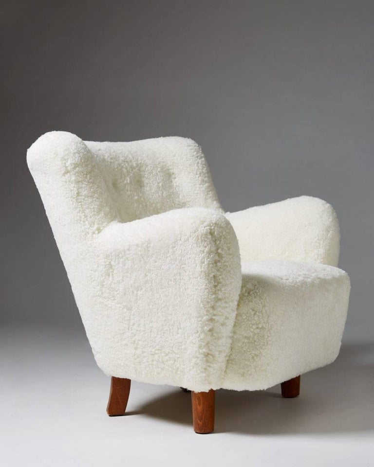 Sheepskin Pair of Armchairs, Anonymous, Denmark, 1940s For Sale