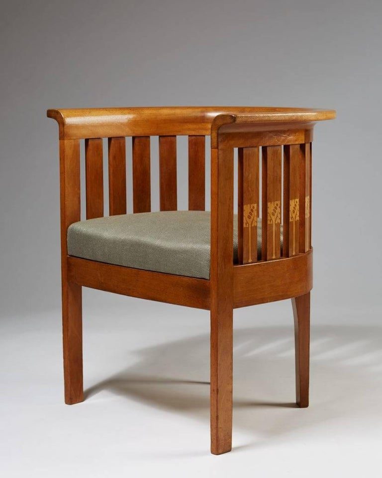 Chair, Art Nouveau, anonymous,  Sweden, 1900s.  Mahogany, marquetry.