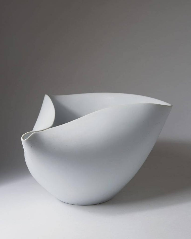 Bowl Veckla designed by Stig Lindberg for Gustavsberg,  Sweden, 1950s.  Stoneware.  H 16 cm/ 6 1/4