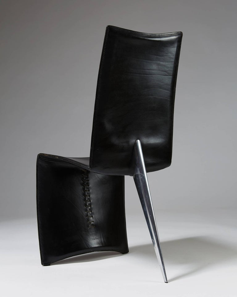 Aluminum Set of Six Chairs 'J Serie Lang' Designed by Philippe Starck for Aleph, Italy For Sale