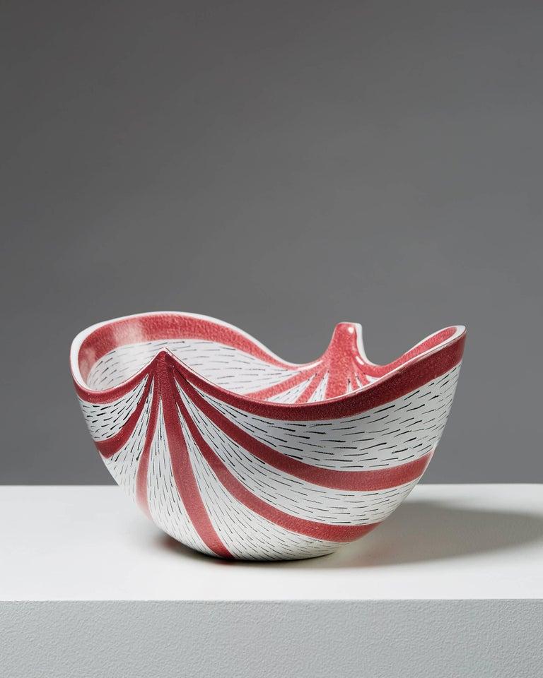 Bowl designed by Stig Lindberg for Gustavsberg,  Sweden, 1950s.   Stoneware.