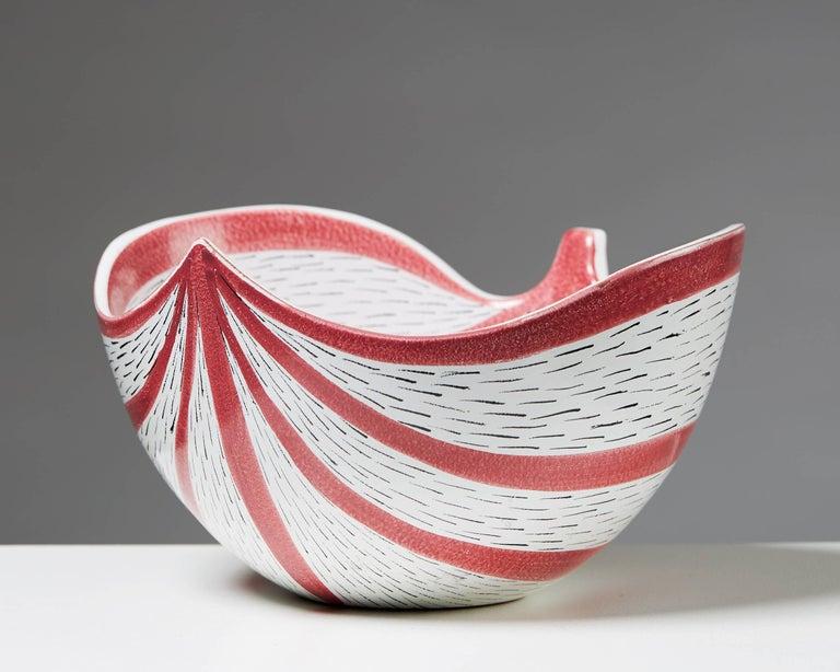 Scandinavian Modern Bowl Designed by Stig Lindberg for Gustavsberg, Sweden, 1950s For Sale