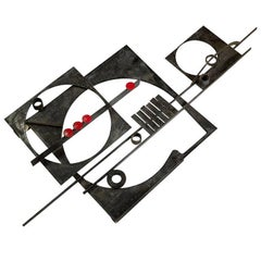 Wall Sculpture in Forged Iron Designed by Jörgen Larsen