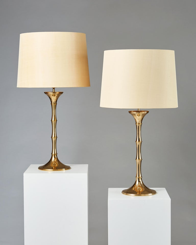 Pair of table lamps 'Bamboo MI1' designed by Ingo Maurer, Germany, 1968. Brass.