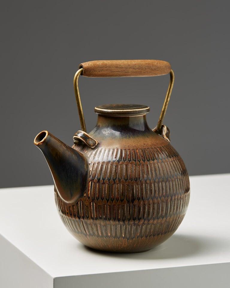 Scandinavian Modern Teapot Designed by Stig Lindberg, Sweden, 1950s For Sale