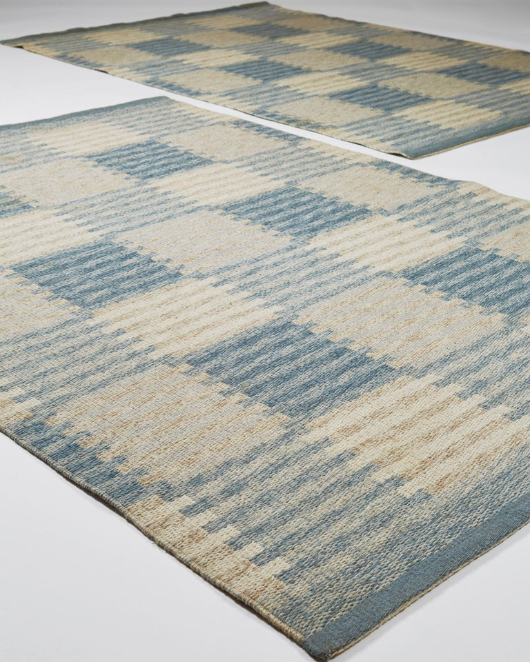 Scandinavian Modern Pair of Rugs Capella Designed by Carl Malmsten, Sweden, 1950s For Sale