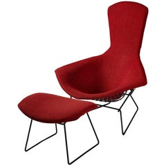 Bird Chair with Footstool, Designed by Harry Bertoia