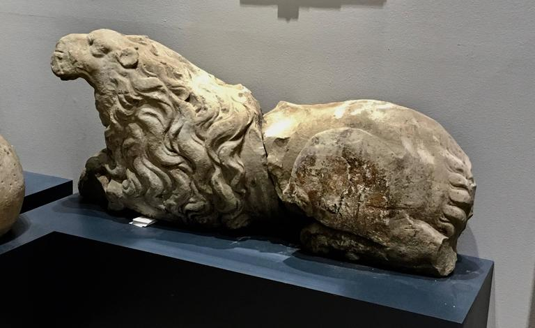 Swedish Pair of 17th Century Carved Sandstone Reclining Lions Originally Part of the For Sale