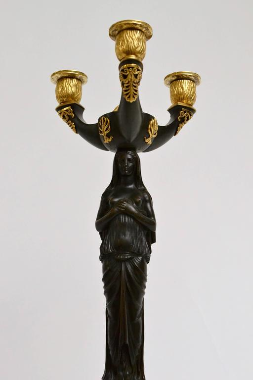 Pair of Gilt Bronze and Patinated Empire Candelabra 2