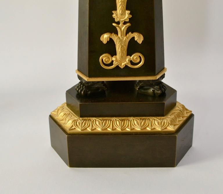 Pair of Empire Gilt and Patinated Bronze Candelabra 2