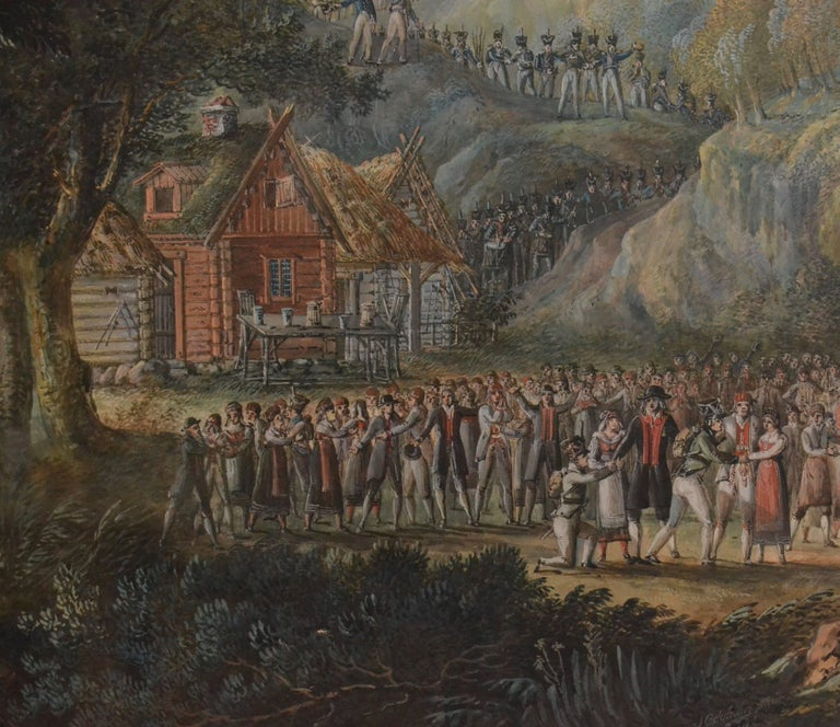 Landscape with Villagers Greeting Soldiers by Axel Fredrik Cederholm In Excellent Condition For Sale In Stockholm, SE