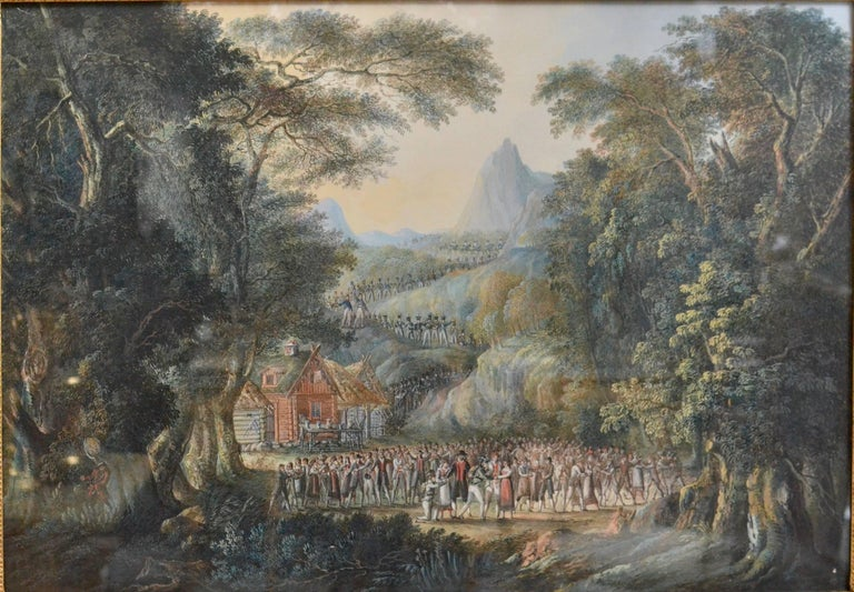 A landscape with villagers greeting soldiers by Axel Fredrik Cederholm (1780-1828) signed