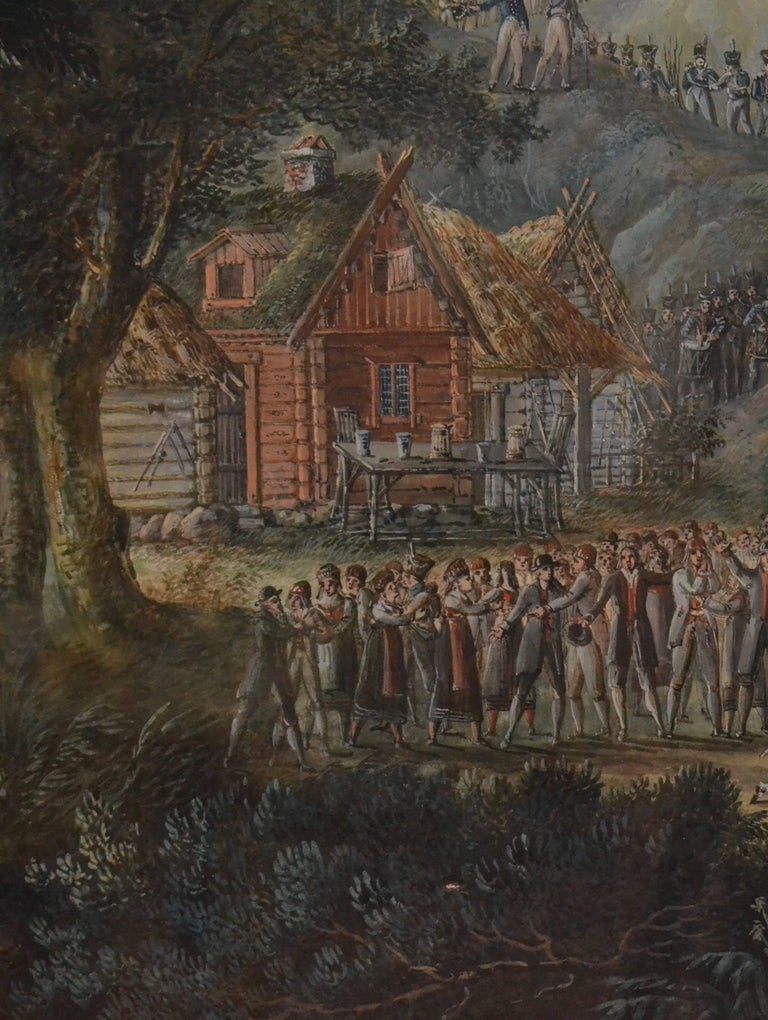 Landscape with Villagers Greeting Soldiers by Axel Fredrik Cederholm For Sale 1