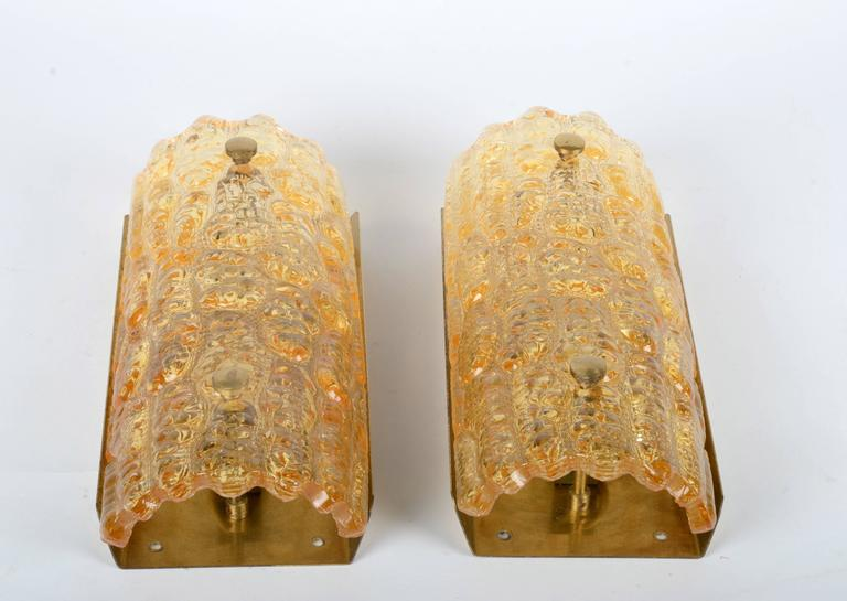 Scandinavian Modern A Pair of Wall Fixtures / Sconces, Carl Fagerlund for Orrefors, Sweden For Sale