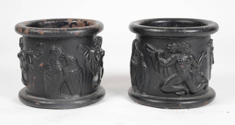 A pair of cast iron urns by Anna Petrus for Näfveqvarns Bruk, Sweden, 1927.  (cf Christian Björk, Näfveqvarns Bruk, Stockholm, 2013, pg. 93).