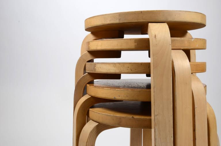 Mid-Century Modern Five Stacking Stools, Model 60, by Alvar Aalto, Designed in 1933 For Sale