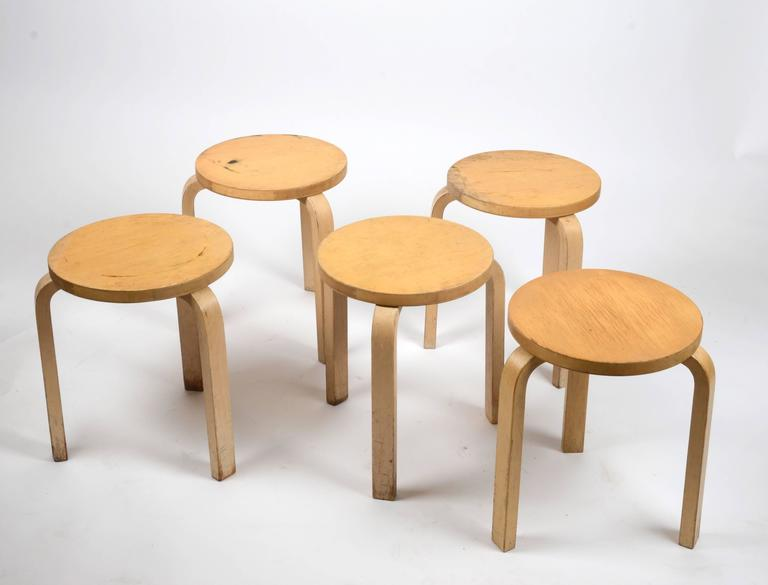 Finnish Five Stacking Stools, Model 60, by Alvar Aalto, Designed in 1933 For Sale
