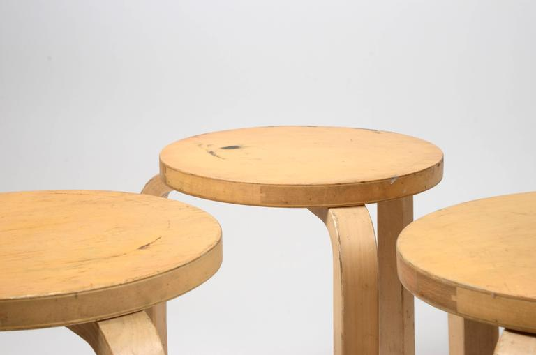 Mid-20th Century Five Stacking Stools, Model 60, by Alvar Aalto, Designed in 1933 For Sale
