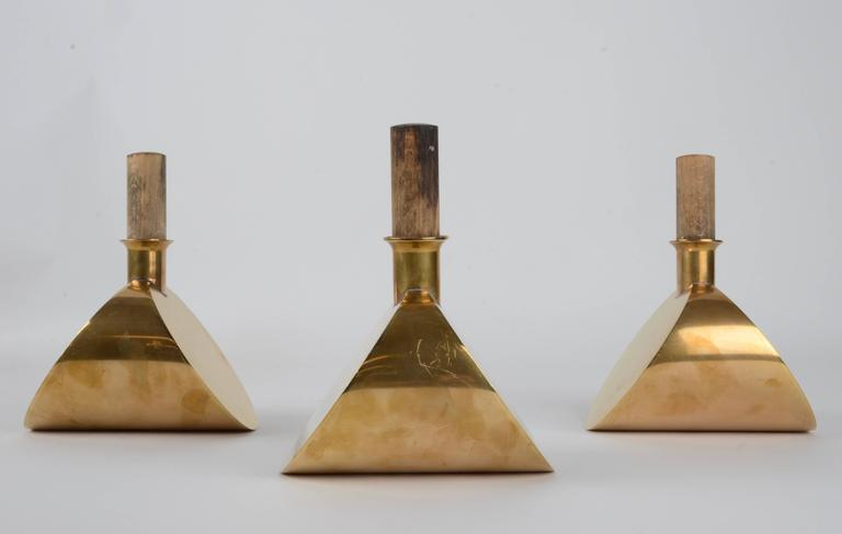 Three decanters in brass, designed by Pierre Forssell for Skultuna, 1607, Sweden, 1960s-1970s.