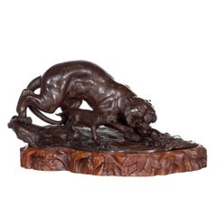 Bronze Sculpture, Tiger with Cub, Meiji Period