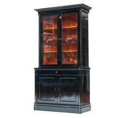 Danish Late Empire Ebonized Bookcase Cabinet, circa 1830-1840