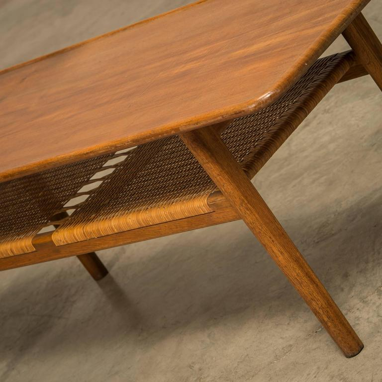 Wegner At 10 Coffee Table Made Of Solid Teak With A Shelf In Cane At 1stdibs