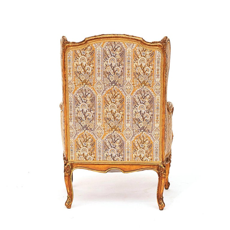 French Napoleon III Giltwood Wing Chair, circa 1870s For Sale 1