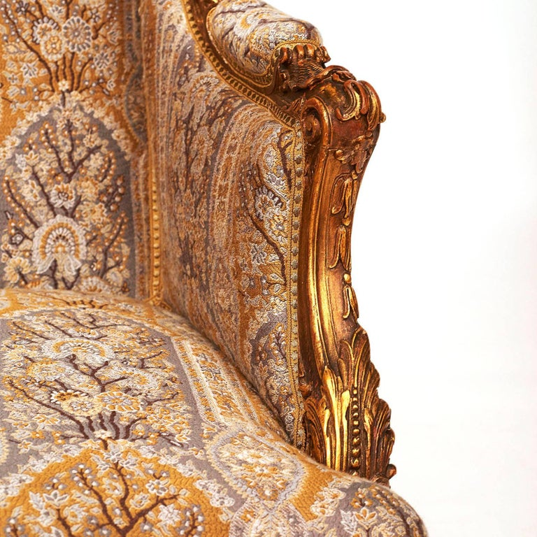 French Napoleon III Giltwood Wing Chair, circa 1870s For Sale 2