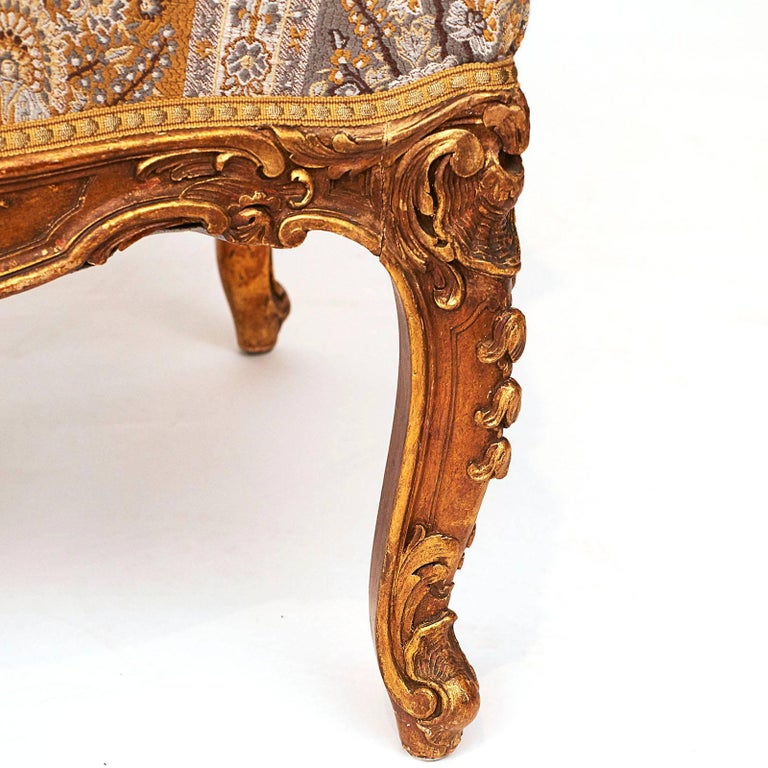 French Napoleon III Giltwood Wing Chair, circa 1870s For Sale 3