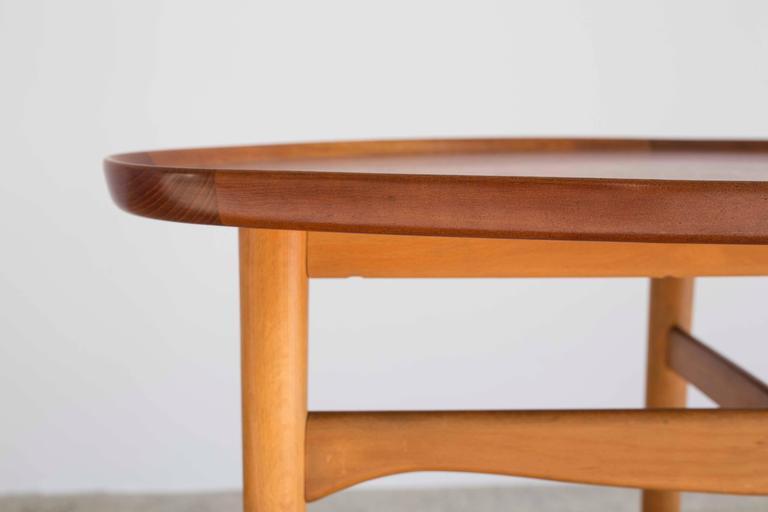 Finn Juhl Coffee Table Tabletop With Raised Edge And Leg Ends Of Teak Frame