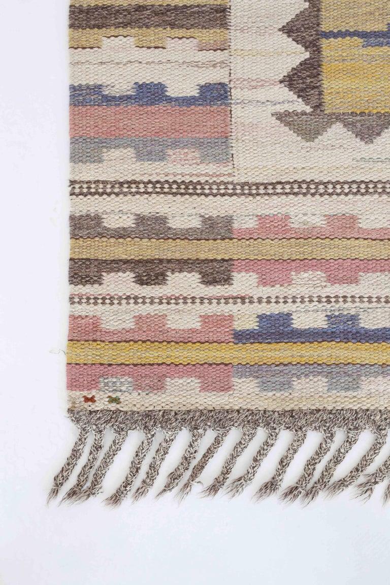Large Märta Måås-Fjetterström 'Ljusa Plador' flat-weave wool carpet.   Designed 1933, made at MMF after 1941.   Fine condition.