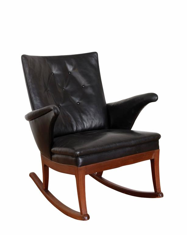 Rocking chair and matching stool with mahogany frame, upholstered in ...