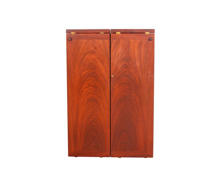 Scandinavian Modern Rosewood Captains Bar by Reno Wahl Iversen  For Sale
