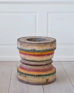 Vintage Rajasthani Polychrome Spice Mortar