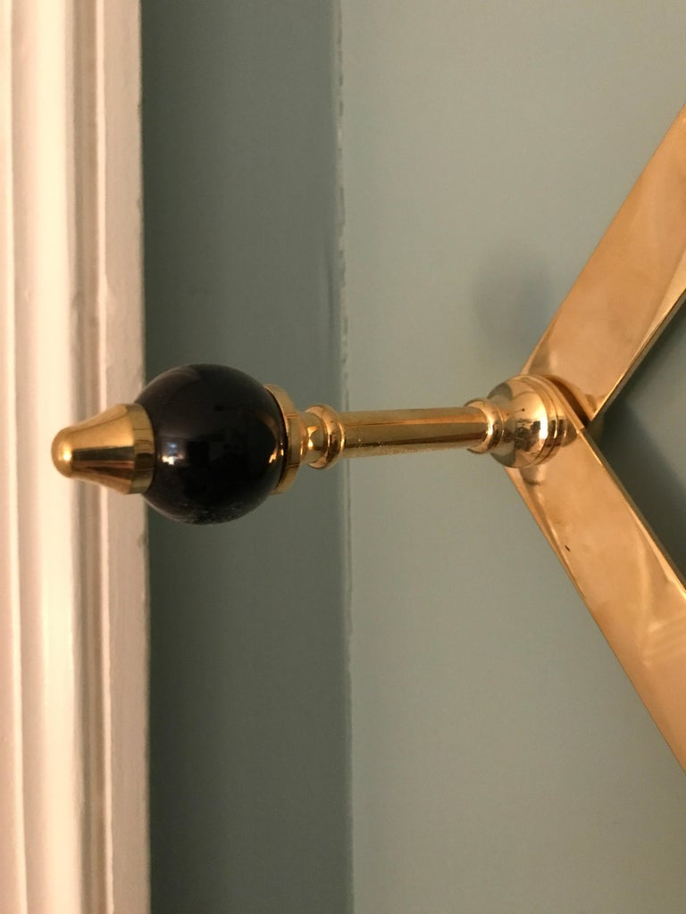 Italian Azucena Coat Hanger in Brass with Lacquerd Wooden Knobs For Sale